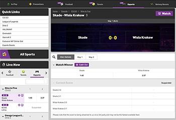 Betway interface example screenshot